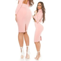 ELEGANT KNEE-LENGTH PENCIL STRETCH SKIRT PINK