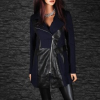 ELEGANT SHORT COAT JACKET WITH ARTIFICIAL LEATHER NAVY/BLACK UK 14 (L)