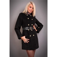 EXCLUSIVE SHORT COAT WITH DRAPES BELT BLACK