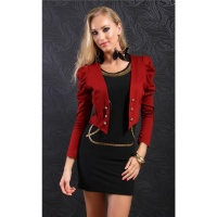 ELEGANT LONG-SLEEVED EVENING BOLERO LITTLE JACKET WINE-RED