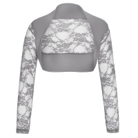 ELEGANT LACE BOLERO WITH LONG SLEEVES GREY