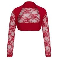 ELEGANT LACE BOLERO WITH LONG SLEEVES RED