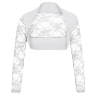 ELEGANT LACE BOLERO WITH LONG SLEEVES WHITE