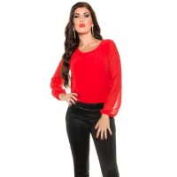 ELEGANT LONG-SLEEVED OVERALL JUMPSUIT WITH CHIFFON RED/BLACK UK 14 (L)