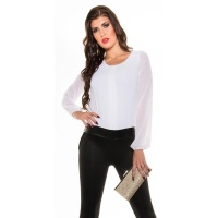 ELEGANT LONG-SLEEVED OVERALL JUMPSUIT WITH CHIFFON WHITE/BLACK UK 12 (M)