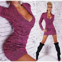 PRECIOUS KNITTED LONG SWEATER/MINIDRESS IN WRAP LOOK FUCHSIA/BLACK