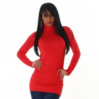 ELEGANT LONG SWEATER / MINIDRESS POLO-NECK APRICOT