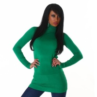 ELEGANT LONG SWEATER / MINIDRESS POLO-NECK GREEN