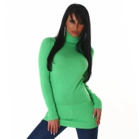ELEGANT LONG SWEATER / MINIDRESS POLO-NECK LIGHT GREEN