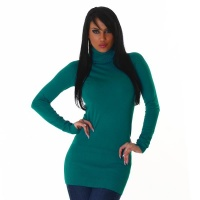 ELEGANT LONG SWEATER / MINIDRESS POLO-NECK PETROL