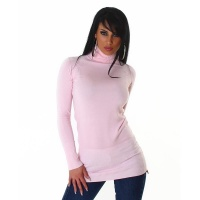 ELEGANT LONG SWEATER / MINIDRESS POLO-NECK PINK