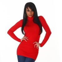 ELEGANT LONG SWEATER / MINIDRESS POLO-NECK RED