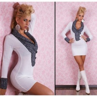 ELEGANT LONG SWEATER/MINIDRESS WITH SHAWL COLLAR WHITE/BLACK Onesize (UK 8,10,12)