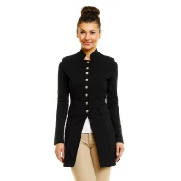 ELEGANT LONG BLAZER JACKET IN MILITARY-LOOK BLACK