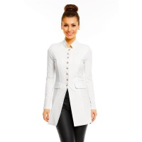 ELEGANT LONG BLAZER JACKET IN MILITARY-LOOK WHITE
