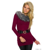 ELEGANT KNITTED LONG SWEATER WITH FAKE FUR INCL. BELT WINE-RED Onesize (UK 8,10,12)
