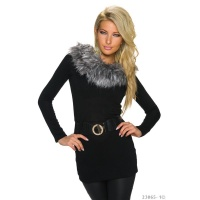 ELEGANT KNITTED LONG SWEATER WITH FAKE FUR INCL. BELT BLACK Onesize (UK 8,10,12)