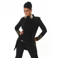 ELEGANT COAT WITH RIVETS AT CUFFS AND SHOULDER BLACK UK 10 (S)