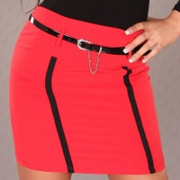 ELEGANT MINI SKIRT WITH STRIPES AND BELT RED UK 14
