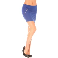 ELEGANT MINISKIRT WITH DECORATIVE ZIPS ROYAL BLUE