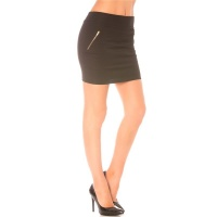 ELEGANT MINISKIRT WITH DECORATIVE ZIPS BLACK