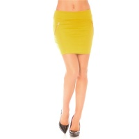 ELEGANT MINISKIRT WITH DECORATIVE ZIPS MUSTARD YELLOW