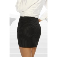ELEGANT MINI SKIRT WITH PINSTRIPES BLACK UK 10 (S)