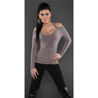 ELEGANT FINE-KNITTED OFF-THE-SHOULDER HALTERNECK SWEATER CAPPUCCINO