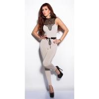 ELEGANT OVERALL JUMPSUIT WITH LACE AND BELT BEIGE