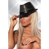 STYLISH SEQUINED PARTY HAT GOGO CLUBWEAR BLACK