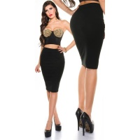 ELEGANT PENCIL STRETCH SKIRT BLACK UK 12/14 (L)