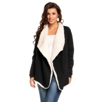 ELEGANT PONCHO CAPE WRAP WITH WARM FAKE-FUR LINING BLACK Onesize (UK 10,12,14)