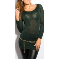 ELEGANT LONG SWEATER WITH GLITTER THREADS AND CUT-OUT GREEN