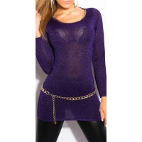 ELEGANT LONG SWEATER WITH GLITTER THREADS AND CUT-OUT PURPLE