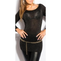 ELEGANT LONG SWEATER WITH GLITTER THREADS AND CUT-OUT BLACK