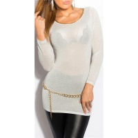 ELEGANT LONG SWEATER WITH GLITTER THREADS AND CUT-OUT WHITE