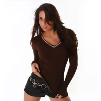 ELEGANT SWEATER WITH RHINESTONES BROWN