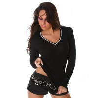 ELEGANT SWEATER WITH RHINESTONES BLACK Onesize (UK 8,10,12)