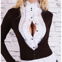 ELEGANT BLOUSE-SWEATER WITH FLOUNCES BROWN/WHITE