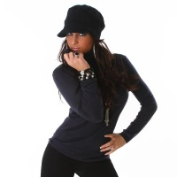 ELEGANT FINE-KNITTED SWEATER POLO-NECK SWEATER DARK BLUE Onesize (UK 8,10,12)
