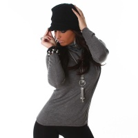 ELEGANT FINE-KNITTED SWEATER POLO-NECK SWEATER DARK GREY