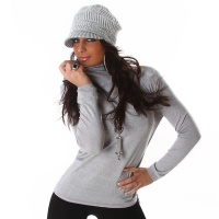 ELEGANT FINE-KNITTED SWEATER POLO-NECK SWEATER LIGHT GREY Onesize (UK 8,10,12)