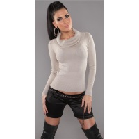 PRECIOUS FINE-KNITTED POLO-NECK SWEATER WITH GLITTER BEIGE UK 10/12 (M/L)