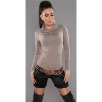 PRECIOUS FINE-KNITTED POLO-NECK SWEATER WITH GLITTER CAPPUCCINO UK 10/12 (M/L)