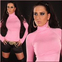 ELEGANT FINE-KNITTED POLO-NECK SWEATER PINK UK 10/12 (M/L)