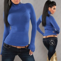 ELEGANT FINE-KNITTED POLO-NECK SWEATER ROYAL BLUE UK 8/10 (S/M)