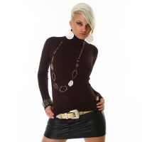 ELEGANT POLO-NECK SWEATER BROWN