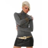 ELEGANT POLO-NECK SWEATER DARK GREY Onesize (UK 8,10,12)