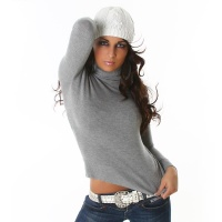 ELEGANT POLO-NECK SWEATER GREY Onesize (UK 8,10,12)