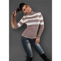DREAMLIKE FINE-KNITTED POLO-NECK SWEATER WITH STRIPES CAPPUCCINO/WHITE